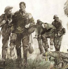 Drawing of wounded WWI soldiers