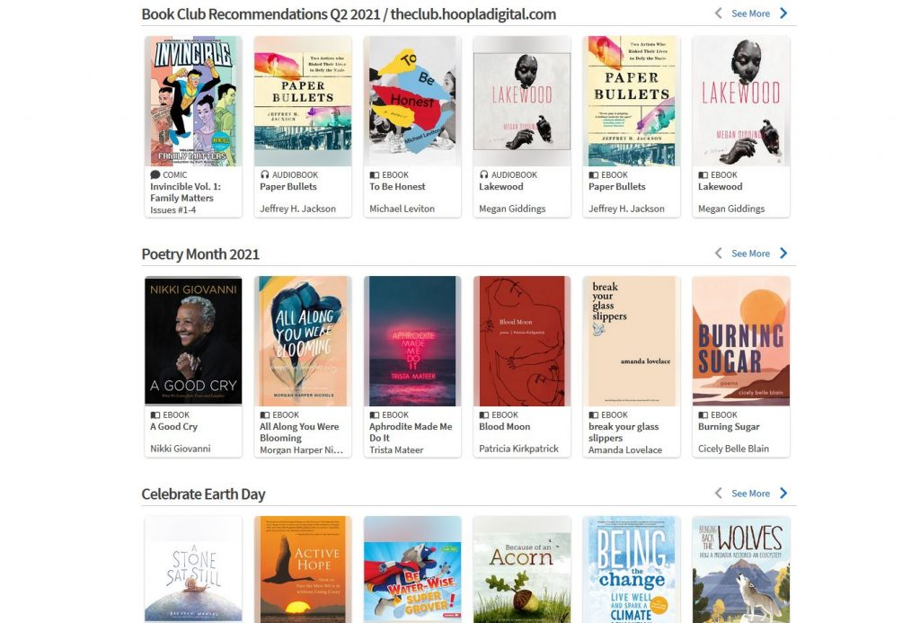 Screen capture of themed book lists from Hoopla.