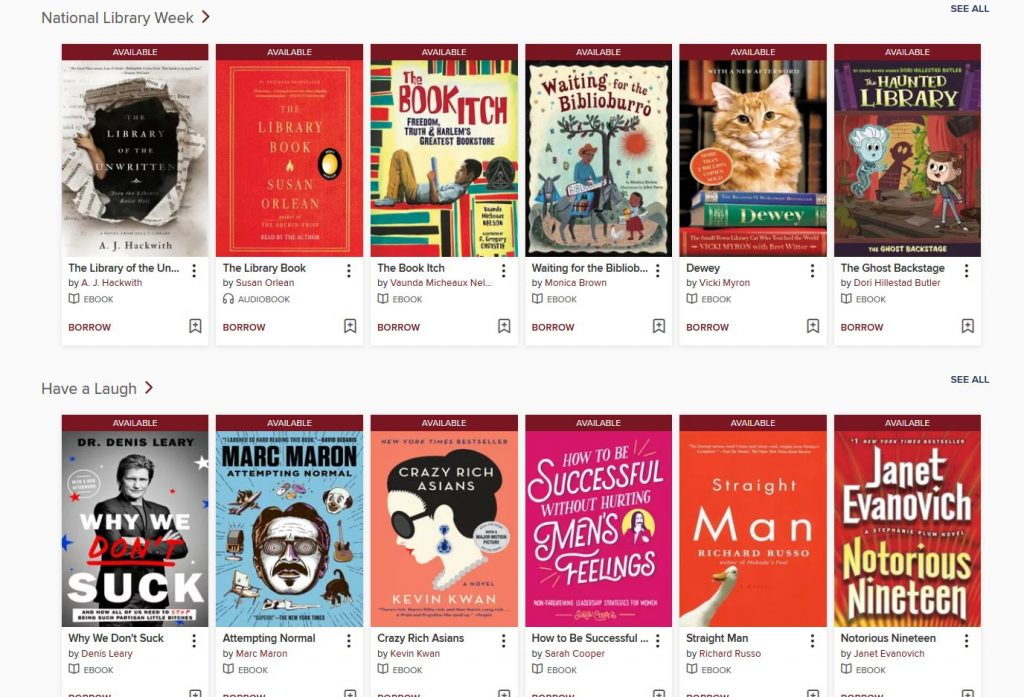 Screen capture of themed book lists from Ohio Digital Library.